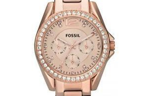 montre or rose fossil